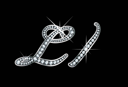 letter l: Stunningly beautiful script L and l set in diamonds and silver.