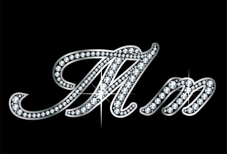 Stunningly beautiful script M and m set in diamonds and silver. Фото со стока - 17693387