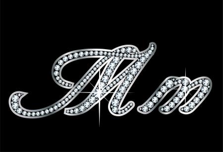 Verbluffend mooi script M en m in diamanten en zilver. Stock Illustratie