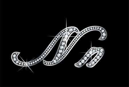 驚くほど美しいスクリプト N および n はダイヤモンドと銀で設定します。 写真素材 - 17693386