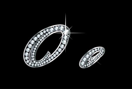 驚くほど美しいスクリプト O と o はダイヤモンドと銀で設定します。