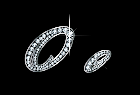 Stunningly beautiful script O and o set in diamonds and silver. Vector