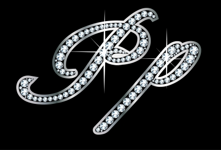 cursive: Stunningly beautiful script P and p set in diamonds and silver.