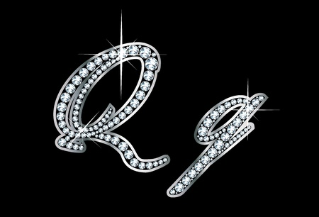 cursive: Stunningly beautiful script Q and q set in diamonds and silver.
