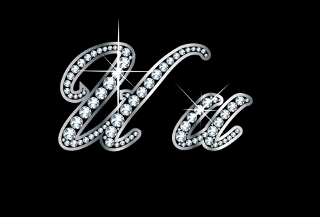 Stunningly beautiful script U and u set in diamonds and silver. Vector