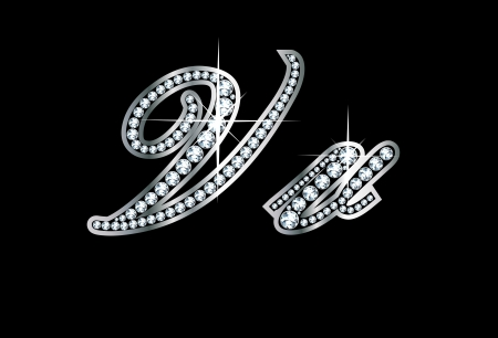 cursive: Stunningly beautiful script V and v set in diamonds and silver.