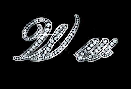 Stunningly beautiful script W and w set in diamonds and silver.