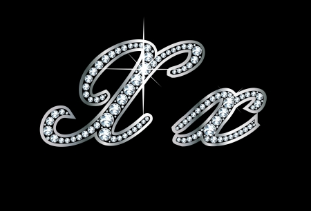 Stunningly beautiful script X and x set in diamonds and silver. Vector