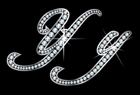 Verbluffend mooi script Y en y in diamanten en zilver.