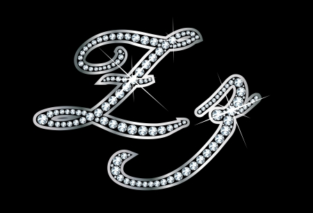 Stunningly beautiful script Z and z set in diamonds and silver.