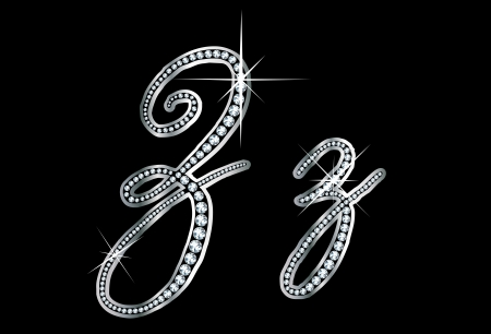 cursive: Stunningly beautiful script Z and z set in diamonds and silver.