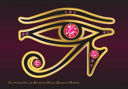 egyptian gods: The Egyptian Eye of Ra with Gold and High-Quality Channel-Set Rubies