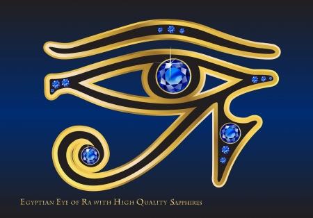 ゴールドと高品質のチャネル セットのサファイアと Ra のエジプトの目