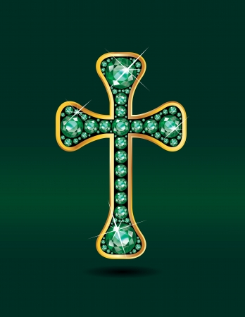 Stunning Christian Cross symbol with emerald precious stones embedded into a gold channel setting
