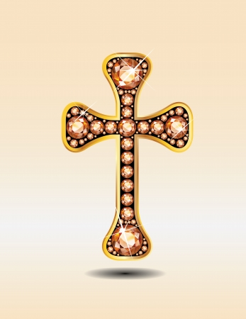 topaz: Stunning Christian Cross symbol with amber or topaz semi-precious stones embedded into a gold channel setting.