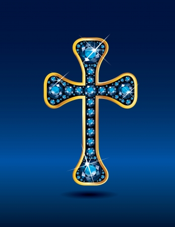 Stunning Christian Cross symbol with aquamarine semi-precious stones embedded into a gold channel setting. Illustration