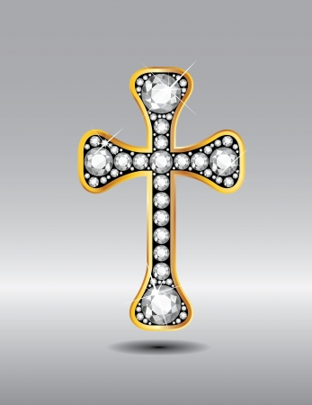 embedded: Stunning Christian Cross symbol with diamond precious stones embedded into a gold channel setting. Illustration
