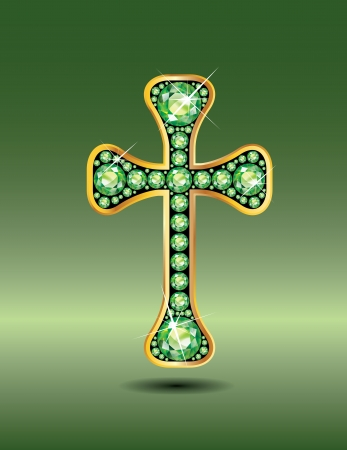 birthstone: Stunning Christian Cross symbol with peridot semi-precious stones embedded into a gold channel setting. Peridot is the birthstone for August. Illustration