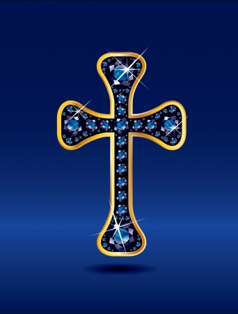 Stunning Christian Cross symbol with sapphire precious stones embedded into a gold channel setting. Sapphire is the birthstone for September. Vector
