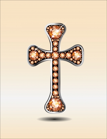 Stunning Christian Cross symbol with amber or topaz semi-precious stones embedded into a silver channel setting