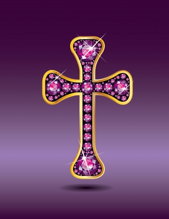 Stunning Christian Cross symbol with garnet semi-precious stones embedded into a gold channel setting