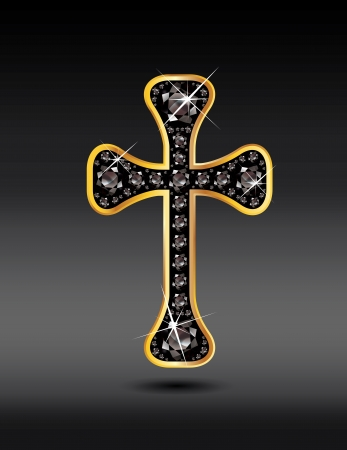 birthstone: Stunning Christian Cross symbol with black onyx or sardonyx semi-precious stones embedded into a gold channel setting  Onyx is a birthstone for August  Illustration