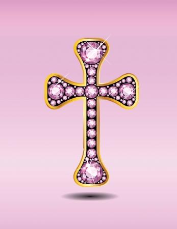Prachtig Christelijk Kruis symbool met rozenkwarts halfedelstenen ingebed in een gouden kanaal instelling