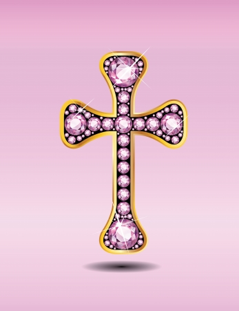 cruz religiosa: Símbolo de la Cruz cristiana impresionante con rosa piedras semi-preciosas de cuarzo incrustado en un ajuste de canal de oro Vectores