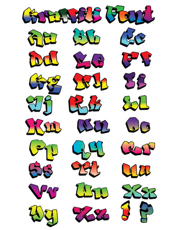 Fun rainbow-colored graffiti font, hand-drawn, not traced, expert construction, easy to modify design and change colors  Illustration