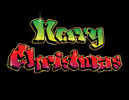 tidings: Twinkling graffiti letters spell out MERRY CHRISTMAS isolated on black background.