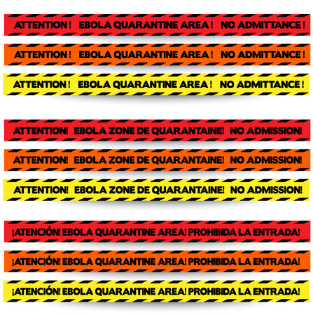 quarantine: Three colors of tape to warn off people in Ebola outbreak zones, in English, French and Spanish respectively, with red, orange and yellow  Illustration