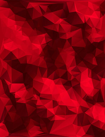 Abstract deep red low-poly triangular design.