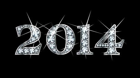 驚くほど美しい「2014」は、ダイヤモンドやシルバーで設定します。  イラスト・ベクター素材