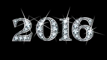 驚くほど美しい「2016」ダイヤモンドと銀で設定します。  イラスト・ベクター素材