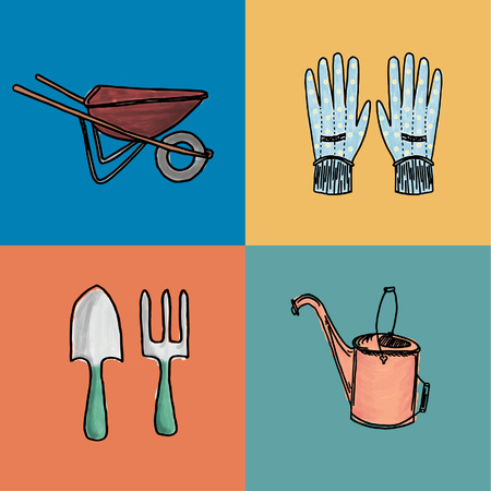 implements: Hand-drawn garden set in 4 panels, including vintage wheelbarrow, garden gloves, fork and spade, and antique watering can, painted in watercolor style.