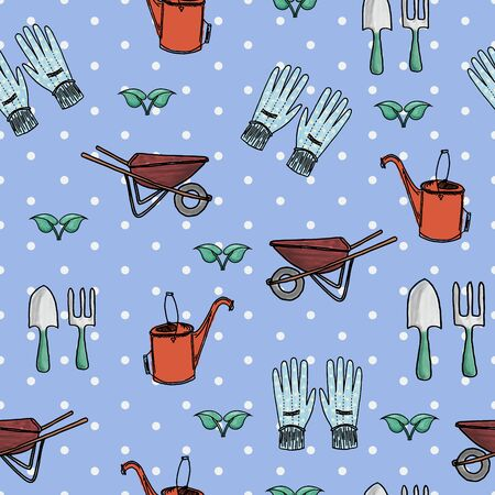 implements: Hand-drawn seamless garden set, including vintage wheelbarrow, garden gloves, fork and spade, and antique watering can, painted in watercolor style.