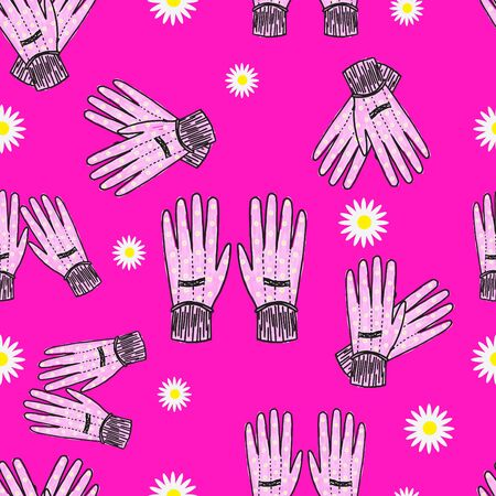 fuschia: Hand-drawn blue garden gloves with daisy print, seamless design with stripes.