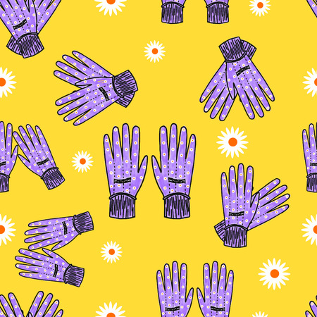 handdrawn: Hand-drawn garden gloves with daisy print, seamless design with stripes.