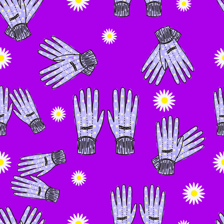 Hand-drawn blue garden gloves with daisy print, seamless design with stripes.