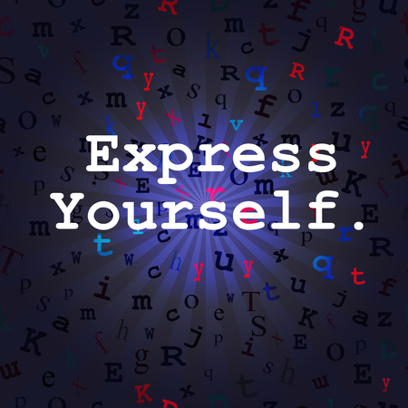 type writer: Express Yourself message on a background of rays and a seamless floating type background.