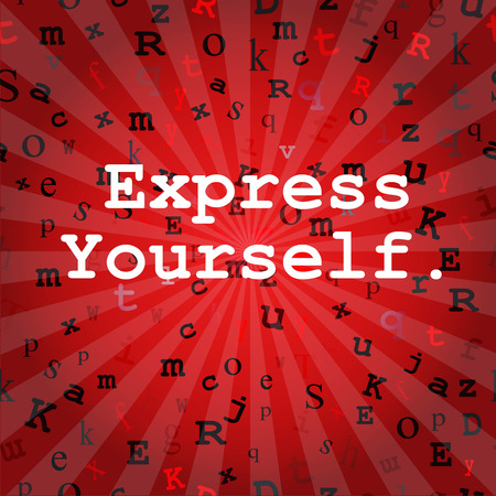 type writer: Express Yourself message over red rays with a seamless type background. Remove rays for a true seamless design. Illustration
