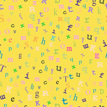 type writer: Yellow seamless background with pastel-colored type.