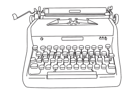 Hand drawn illustration of a retro manual typewriter in outline, ready for your custom colors.