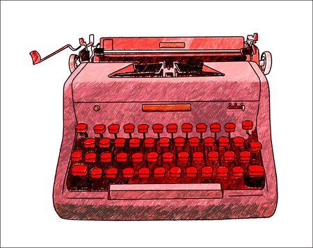 type writer: Hand drawn illustration of a retro manual typewriter. Illustration
