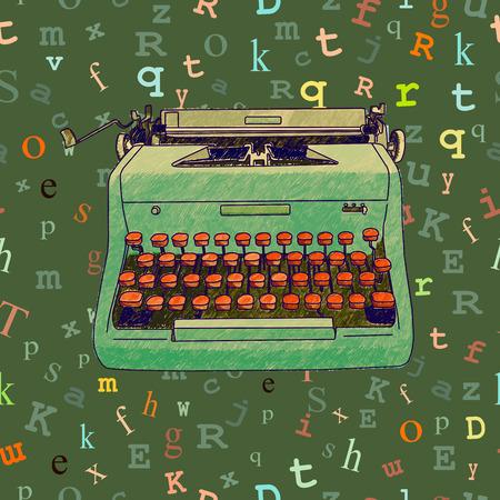 Hand getrokken illustratie van een retro typemachine over een naadloze achtergrond met drijvende type. Stock Illustratie