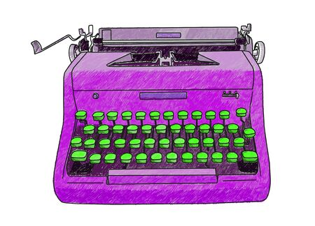Hand drawn illustration of a retro manual typewriter. Illustration