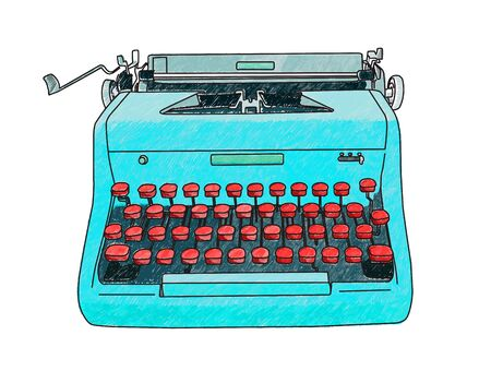 Hand drawn illustration of a retro manual typewriter. Ilustrace