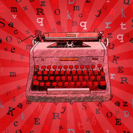 type writer: Disegnati a mano illustrazione di una macchina da scrivere manuale retr� su uno sfondo senza soluzione di continuit� con il tipo flottante. Vettoriali