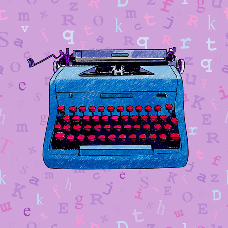 Hand drawn illustration of a retro manual typewriter over a seamless background with floating type. Vectores
