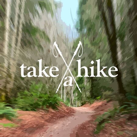hike: A redwood path invites you to Take A Hike in the forest. Radial blur on my photograph.